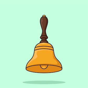 Gouden handbell cartoon illustratie vector