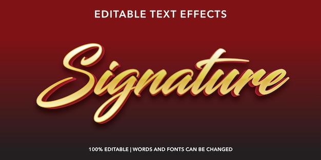 Gouden handtekening bewerkbaar teksteffect