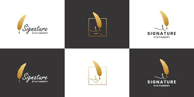 Gouden handtekening veren pen logo ontwerp. klassiek, oud briefpapier