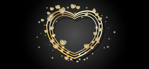 Gouden hart frame zwarte achtergrond