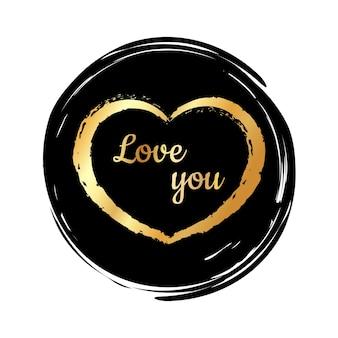 Gouden hart op een zwarte achtergrond stucco bone brush handgetekende hartborstels handgeschilderd hart
