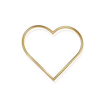 Gouden hart op valentijnsdag, op een witte achtergrond. gouden romantisch metalen hart in minimalistisch design.