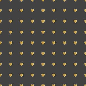 Gouden harten patroon vectorillustratie. zwarte achtergrond