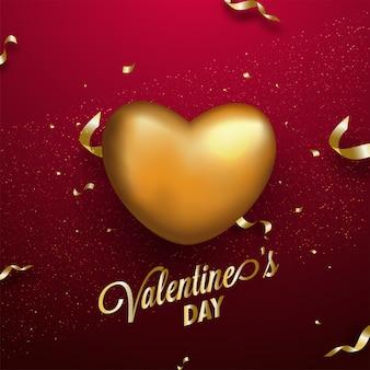 Gouden hartvorm op rode achtergrond voor valentijnsdag.