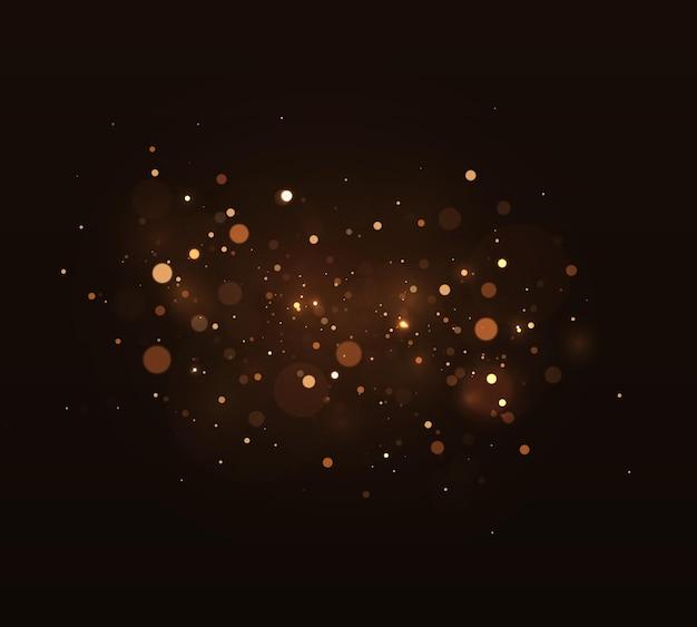 Gouden heldere gloed bokeh mooi licht flitst gouden kerstverlichting