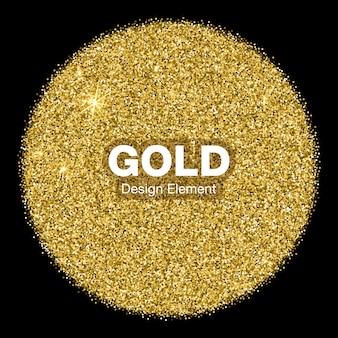 Gouden heldere gloeiende cirkel op zwarte achtergrond. sieraden gouden embleem logo concept.