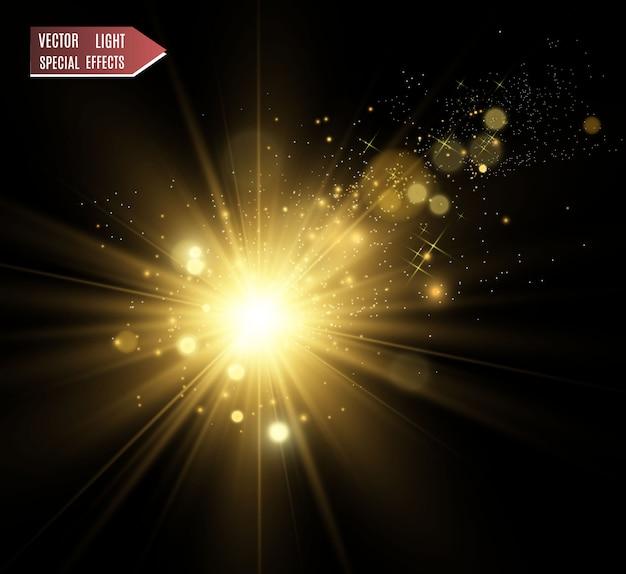 Gouden heldere ster. lichteffect heldere ster. prachtig licht om te illustreren.