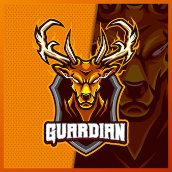 Gouden hert hoorn mascotte esport logo ontwerp illustraties sjabloon, moose buck cartoon stijl