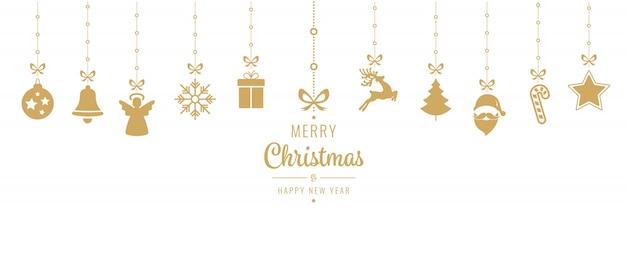 Gouden het ornamentelementen die van kerstmis geïsoleerde achtergrond hangen