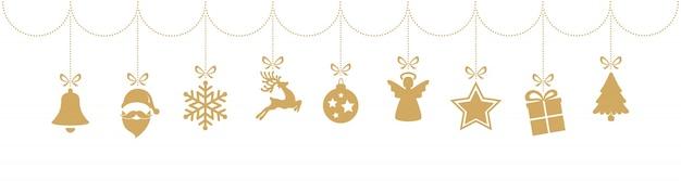 Gouden het ornamentelementen die van kerstmis geïsoleerde witte achtergrond hangen