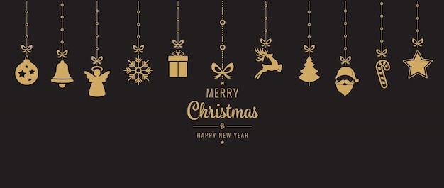 Gouden het ornamentelementen die van kerstmis zwarte achtergrond hangen