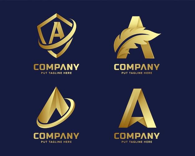 Gouden hoofdletter a logo collectie