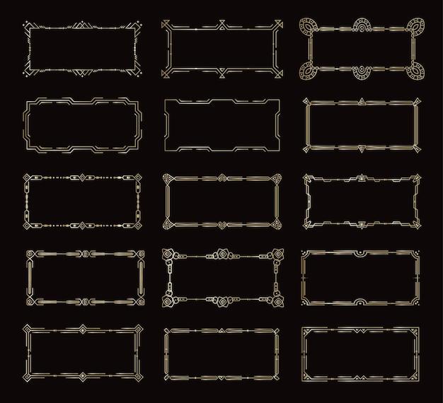 Gouden horizontale frames, vintage decoratieve randen sjabloon