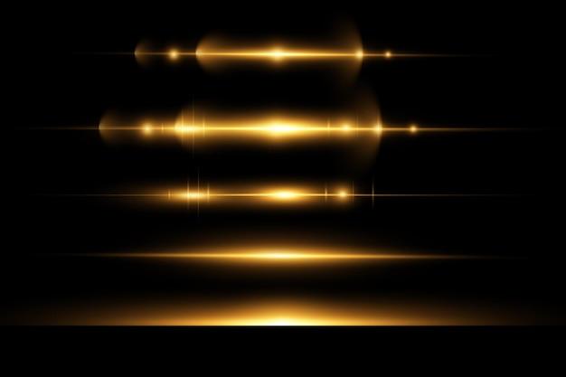 Gouden horizontale lens flares pack laserstralen horizontale lichtstralen glow transparant vector licht
