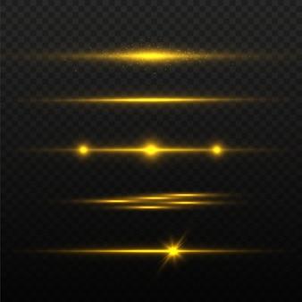 Gouden horizontale lens flares pack, laserstralen, lichtflare. lichtgevende abstracte sprankelende lijnen.