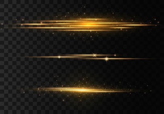 Gouden horizontale lens flares set, laserstralen