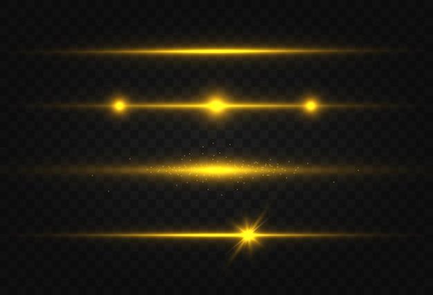 Gouden horizontale lens flares set