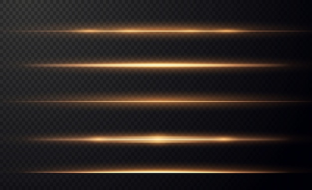 Gouden horizontale lensfakkels pack laserstralen horizontale lichtstralen mooie lichtfakkels