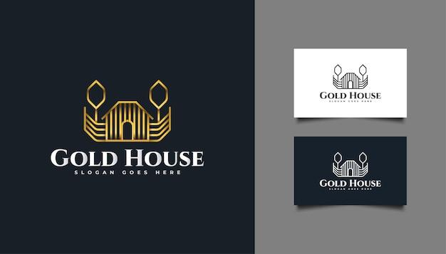 Gouden huislogo met lijnstijl voor onroerend goed. ontwerpsjabloon voor bouw, architectuur of gebouw logo