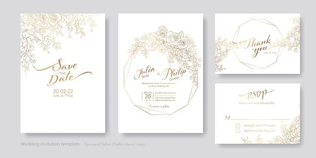 Gouden huwelijksuitnodiging bewaar de datum bedankt rsvp-kaartsjabloon