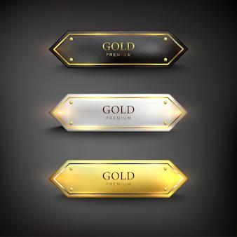 Gouden ijzeren web set knop op zwarte achtergrond