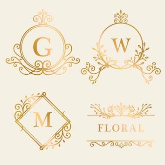 Gouden ingelijst logo-collectie