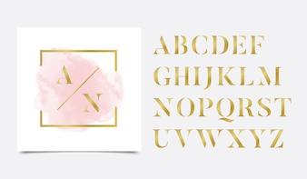 Gouden initialen aquarel met gouden lineair logo-ontwerp