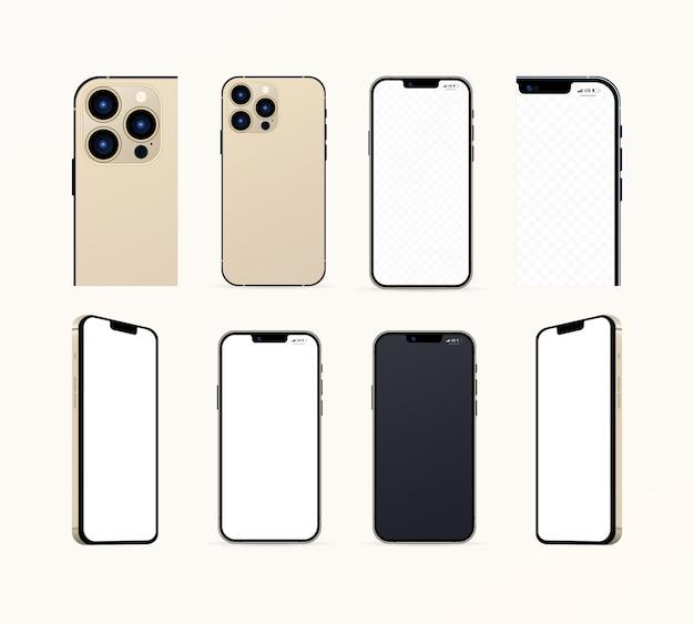 Gouden iphone pro max. nieuwe iphone 13 promax. mock-up scherm iphone en achterkant iphone. vector illustratie. zaporizja, oekraïne - 16 september 2021