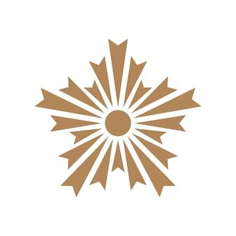 Gouden japan police crest teken. asahi hoofdstuk symbool of embleem.