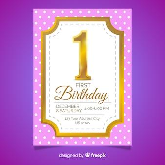 Gouden kaart met eerste verjaardag