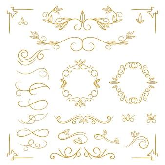Gouden kalligrafisch ornamentpakket