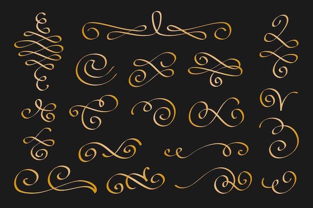 Gouden kalligrafisch sierelementpakket