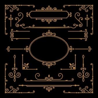 Gouden kalligrafische decoratieve elementen Gratis Vector