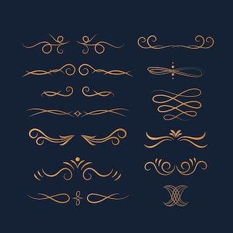 Gouden kalligrafische decoratieve elementenset