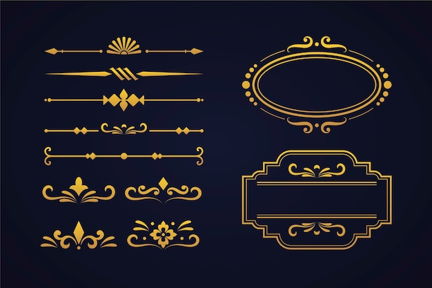 Gouden kalligrafische ornamentcollectie