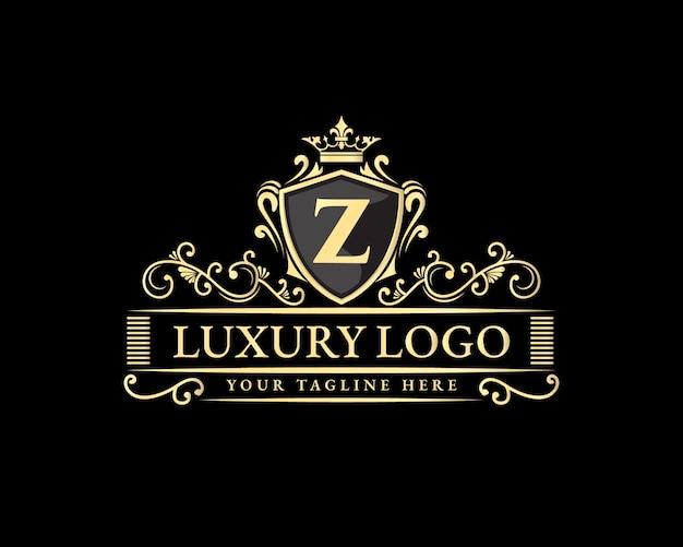 Gouden kalligrafische vrouwelijke bloemen hand getrokken heraldische monogram antieke vintage stijl luxe logo-ontwerp