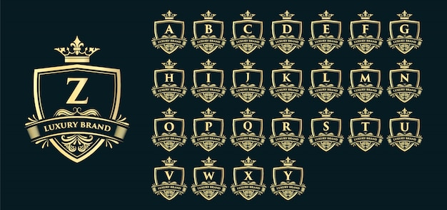 Gouden kalligrafische vrouwelijke bloemen hand getrokken monogram antieke vintage stijl luxe logo-ontwerp en decor