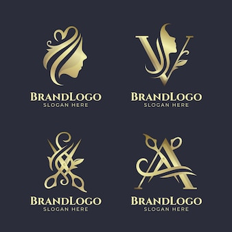Gouden kapsalon logo set Gratis Vector