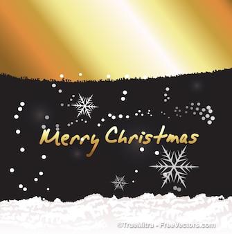 Gouden kerst achtergrond met sneeuwvlokken