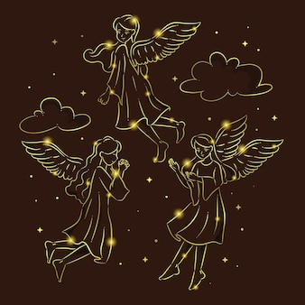 Gouden kerst engel collectie