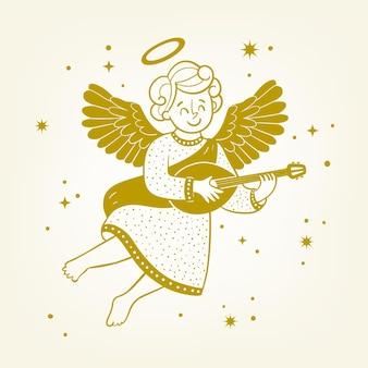 Gouden kerst engel