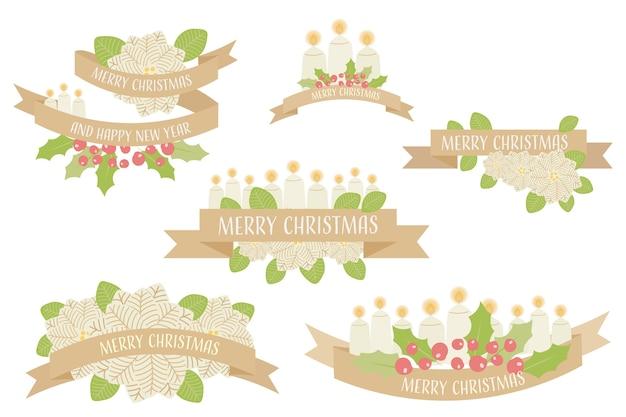 Gouden kerst kaars kaars lint collectie