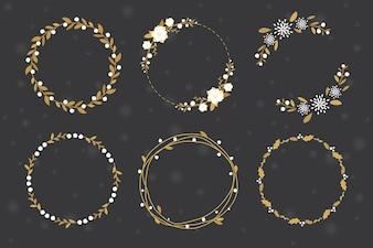 Gouden kerst krans frame collectie vlakke stijl