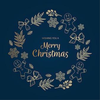 Gouden kerst krans sjabloon