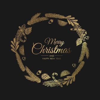 Gouden kerst krans wenskaart