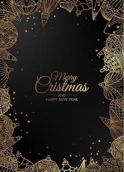 Gouden kerst ornamenten frame wenskaart