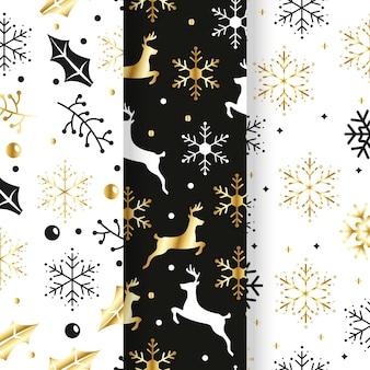 Gouden kerst patroon collectie