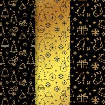 Gouden kerst patroon
