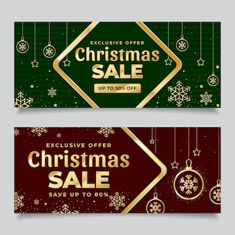 Gouden kerst verkoop banners met korting