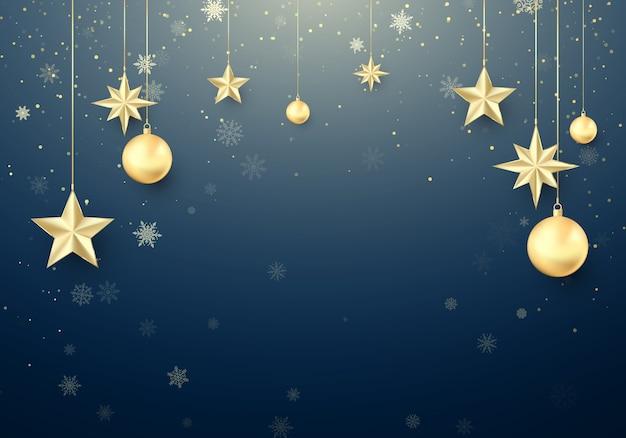 Gouden kerstbal en sterren